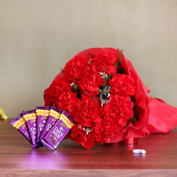 10 Red Carnations and 2 Dairy Milk Chocolates Combo