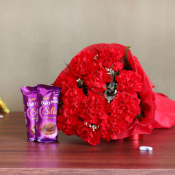 12 Red Carnations and 2 Silk Chocolates Combo