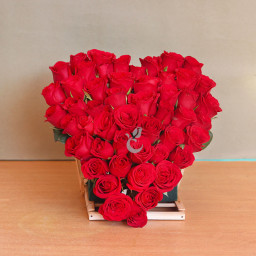 Heart Shaped 50 Red Roses
