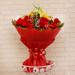 20 Red Roses +3 yellow Lilies