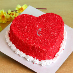 Zoom view of Heart Shape Red Velvet Cake