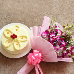 Wonderful Combo Gift of 6 Purple Orchid Bunch with Half kg Butterscotch Cake
