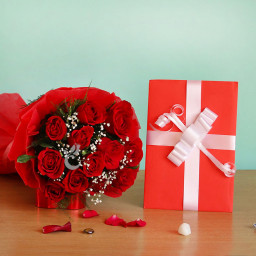 10 Red Roses with a Greeting Card