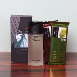 Unique Combo Gift of 2 Temptation Chocolates with Riya Bawri Perfume
