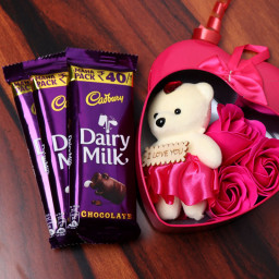 Combo Gift of Three Rose Paper Soap + Teddy Bear + Three Cadbury Dairy Milk Chocolates