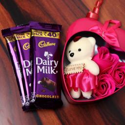 Combo Gift of Three Rose Paper Soap + Teddy Bear + Three Cadbury Dairy Milk Chocolates