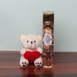 Attractive Teddy with Ferrero Rocher Chocolates Gift