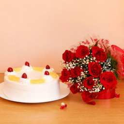 Combo of 10 Red Roses and Half kg Pineapple Cake
