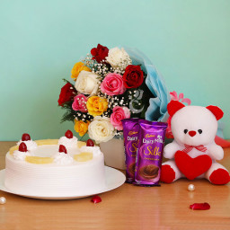 Combo Gift of 12 Mix Roses Bunch + 2 Dairy Milk Silk + Half Kg Pineapple Cake + Teddy
