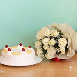 Combo Gift of 12 White Roses Bouquet  with Half kg Pinapple Cake