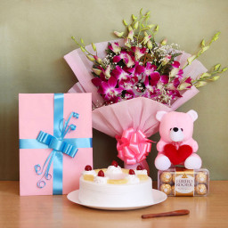 Combo Gift of 6 Orchids + Half kg Pineapple Cake +16 Ferrero Rocher +Greating Card + Teddy