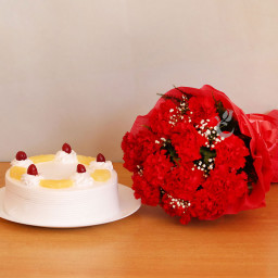 Combo of 12 Red Carnation with Half kg Pineapple Cake