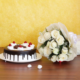 Combo of 12 White Roses and Half kg Blackforest Cake