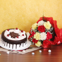 Combo Gift of 12 Mix Carnation Bunch with Half kg Blackforest Cake
