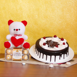 Fabulous Fascination Combo Gift of Teddy with Half Kg Black Forest Cake and16 Frc