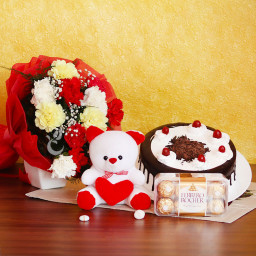 Combo Gift of Half kg Black Forest Cake +10 Mix Carnation + Teddy + 16 Ferrero Rocher