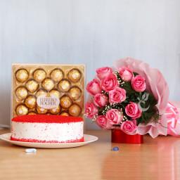 Combo Hamper of 12 Pink Roses+ Half Kg Red Velvet Cake+24 Ferrero Rocher