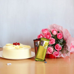 12 Pink Rose +Half kg Butterscotch Cake+2 Temptation with paper packing