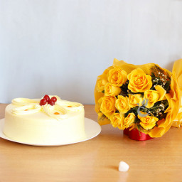 12 Yellow Rose +half Kg Butterscotch cake