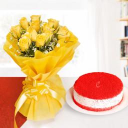 12 yellow Roses + red valvet cake