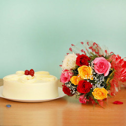 10 Mix Roses+Half kg Butterscotch Cake with cellophane packing