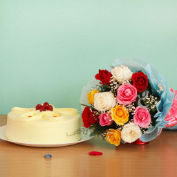 Combo  Gift of 12 Mix Rose with Half kg Butterscotch Cake