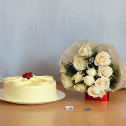 Combo Gift of 12 White Rose Bunch and Half kg  Butterscotch Cake