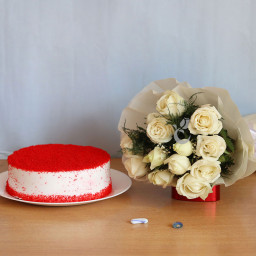 12 White Rose Bouquet  and Half kg  Red Valvet Cake Gift Combo