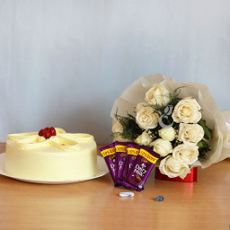 Combo Gift of 12 White Roses Bunch + Half kg  Butterscotch Cake + 5 Dairy Milk