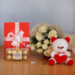 Gift Hamper of 12 White Roses+ Teddy + 16 Pic Ferrero Rocher +1 Greeting Card
