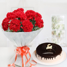 12 carnation + chocolate cake