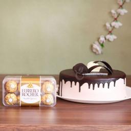 Combo of 16 Ferrero Rocher & 1/2 Kg Chocolate Cake