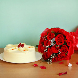 Combo of A bouquet of 10 red roses and Half kg Butterscotch Cake