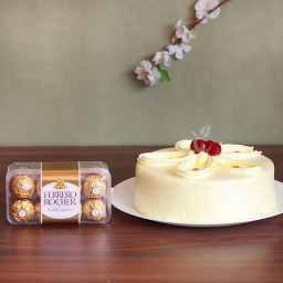Combo of Half Kg Butterscotch Cake and 16 Ferrero Rocher