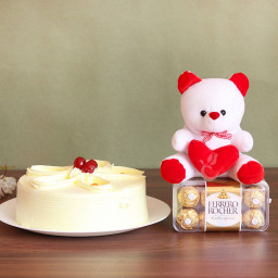 Combo of Half Kg Butterscotch Cake with 16 Ferrero Rocher and 6 inch Teddy