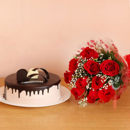 Combo of 10 Red Roses Bouquet & Half kg Chocolate Cake