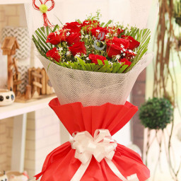 15 Red Roses in Red and White Special Paper Packing